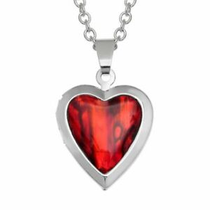 TJ688 Tide Jewellery Inlaid Red Abalone Paua Shell Heart Locket Necklace