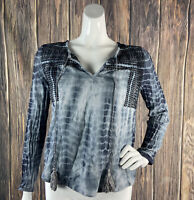 Lovestitch Small Top Tassels Black Gray Embroidered Boho Casual Tie-dye Peasant