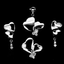 CUBIC ZIRCONIA STERLING 925 SILVER Heart Earrings Ring Pendant Jewelry SET