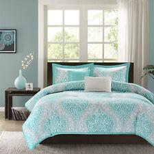 Beautiful Modern Chic Blue Teal Aqua Scroll Grey White Beach Soft Comforter Set