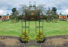2 X NEW LARGE METAL GARDEN OBELISK HEAVY DUTY STRONG TUBULAR PLANT CAGE ROSE