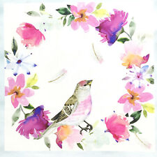 Birds fabric panel, quilting square, cotton, bird, floral, white pink blue