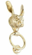 """Solid Brass Hare Door Knocker – antique country animal door knockers (23cm / 9"""")"""