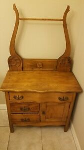 Antique Oak Wash Stand/Commode/Dry Sink w/Drawers Cabinet & Towel Rack