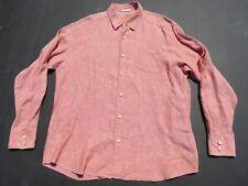 Mens TOMMY BAHAMA Sea Glass Breezer Coral Pink Linen Button Shirt XL $118