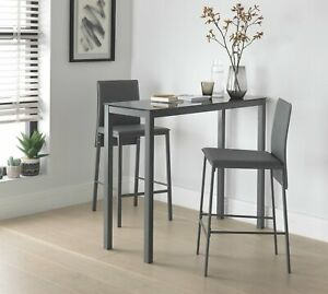 Home Lido Glass Bar Table & 2 Grey Chairs