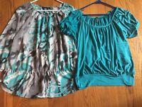 JASON MAXWELL & APT 9 Set Lot of 2 Tops Shirts Blouses Teal Blue Womens Sz L /
