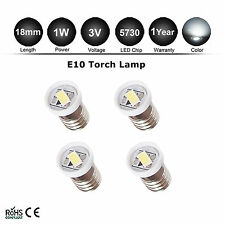 4pcs E10 SMD 7305 1 LED 6000K White Bulb MES Screw Torch Headlamps/Light 3V DC