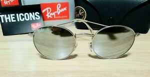 Ray-Ban Round *Defect* Silver Frame Silver Mirror Lens Sunglasses RB3447 019/30