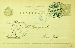 HUNGARY 1906 5f UPRATED ON 5f POSTAL CARD FROM BUDAPEST TO SAN JOSE COSTA RICA