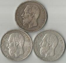 LEOPOLD II -5 FRANCS - ROI DES BELGES - 1869+ 1870 + 1871 -  SILVER***