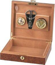 HUMIDOR Wurzelholzdekor abschließbar 10 Cigarren Humidifer, Hygrometer, Scheider