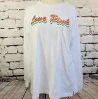 VICTORIA'S SECRET LOVE PINK RAINBOW SEQUINS COTTON Long T-shirt Top BLING XS