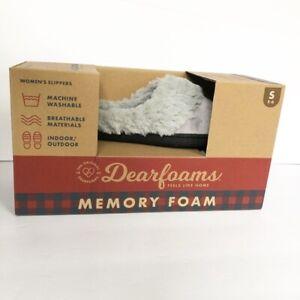 NEW Dearfoams Womens Memory Foam Hood Back Clog Microsuede Slippers Size S (5-6)