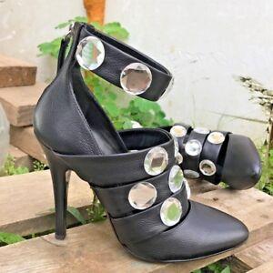 NEW Auth Balmain Giuseppe Zanotti Black CRYSTAL Boots Heels Sexy Shoes 38