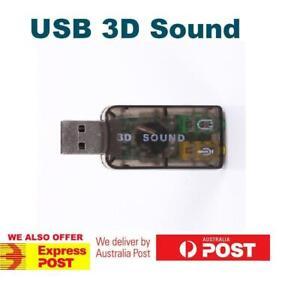 USB 2.0 to 3D AUDIO SOUND CARD EXTERNAL ADAPTER VIRTUAL 5.1 CH MIC Headphone