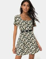 MOTEL ROCKS  Peky Skater Dress in Aster Black  Extra Small XS   (mr10.1)
