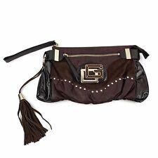 GUESS Womens Brown Vegan Leather Oversized Clutch Wristlet Tassel Fringe Logo