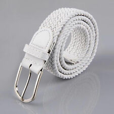 Men Women Elastic Stretch Woven Cotton Canvas Leather Pin Buckle Waist Belt Band