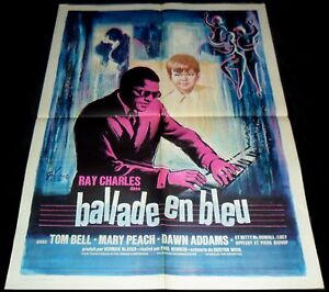 1964 Ballad in Blue ORIGINAL French 69' POSTER Ray Charles Artwork By Grinsson