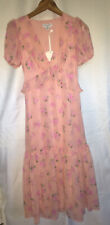Love Shack Fancy Size 2 Pink Floral Ruffle V-neck A-line Romantic Dress NWT