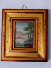 miniatura Quadro  Antico Paesaggio d'autore Modanatura con firma 1900