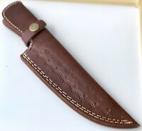 DOUBLE STICH Hand Made Pure Leather ENGRAVE Sheath For Fixed Blade Knife -Q547-2