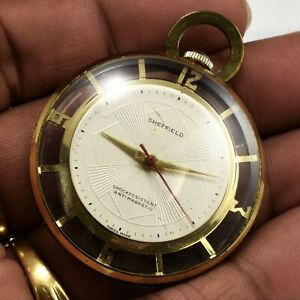 Vintage Sheffield 1 Jewel Pocket Watch Skeleton See Through Runs Fine Keeps Time