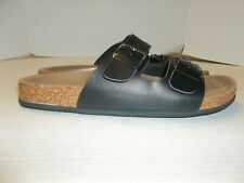 Mens Size L (10-11) Rock & Republic Black Slide Sandals Cork Sole