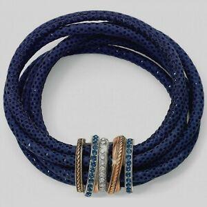 NWT Brighton NEPTUNE'S RINGS Sparkle Navy BLUE Leather Magnetic Bracelet MSRP$88