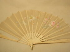 Vtg Bone & Fabric Hand Painted Floral Flower Folding Hand Fan *As-Is, Damaged*