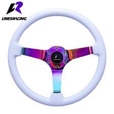 14″ White Wood Grain Steering Wheel 6 Bolt 3″ Dish Neon Chrome+HORN For Honda
