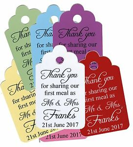 Personalised Wedding Thank you For Sharing Our First Meal Tag any Colour/words