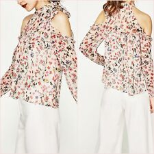 Zara Floral Cut Out Shoulder Long Sleeve Blouse Top Size S UK 8 US 4 Blogger ❤