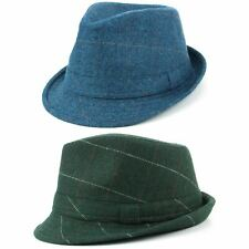 Wool Herringbone Trilby Hat Band Tweed Green Blue Checked Flannel Fedora New