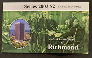 Series 2003 $2 Single Star Note Richmond Uncirculated