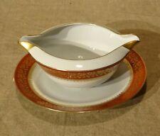 Saucière en porcelaine Limoges Cenpor   blanc rouge corail et or