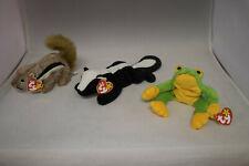 Lot Ty Original Beanie Babies Baby Chipmunk Chipper, Skunk Stinky, Frog Smoochy