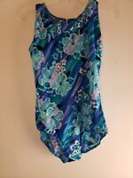 Sun Streak Women's One Piece Bathing Suit Swim Suit Blue Floral Size 18W Plus