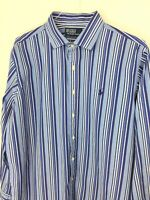 Ralph Lauren Polo Mens XL Mens Blue Stripe Dress Shirt