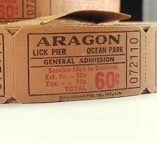Ocean Park ARAGON BALLROOM Lick Pier SERVICE MEN in UNIFORM .60 ROLL of TICKETS!