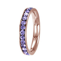 Stainless Steel Eternity Rose Gold Plated Alexandrite June Birthstone Ring 3MM