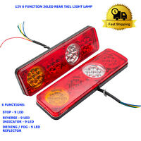 2 Rear Tail Light Lamp 12V 6 Function 36LED Waterproof For Trailer Caravan Truck