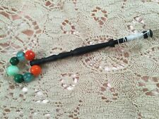 Vintage wood lace bobbin bead spangle Thin wooden bobbin spangled with beads