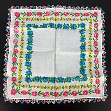 Lovely Vintage Handkerchief Ladies Hanky Lace Edge Center Floral Bold Rainbow