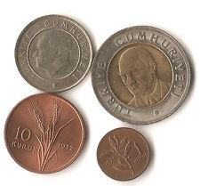 Four Turkey coins, 1, 10, and 25 kurus, 1 yeni lira, 1971 - 2014, bi-metallic