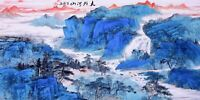 ORIENTAL ASIAN FINE ART CHINESE FAMOUS SANSUI WATERCOLOR PAINTING-Mountain&House