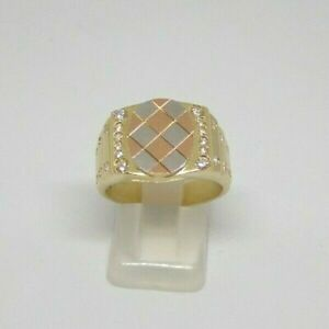 Ring 3 Colours Gold 18kt Man Woman Diamonds Bright Yellow Gold Men's Ring 黄金男士戒指