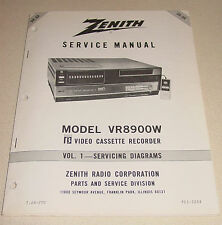 Zenith Service Manual Vol 1 for Beta VCR VR8900W Video Cassette Recorder USA