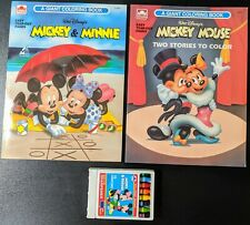 Vintage Walt Disney Mickey Minnie Mouse Coloring Books with Crayons Unused 89/91